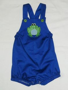 Kwik Sew Sewing for Baby pattern  Boy Overalls / Romper - Babyville Frog applique is so cute on this!