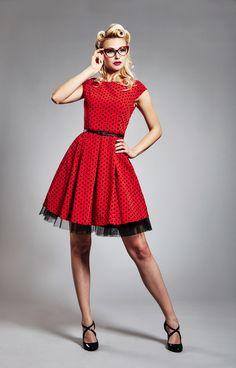 0abdf71b9772 Červené retro šaty s černým puntíkem   Zboží prodejce JaneBond