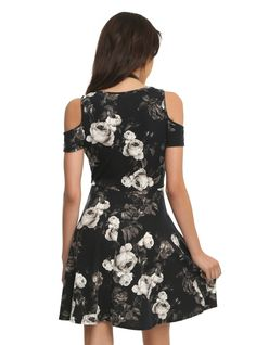 Floral Black And White Print Cold Shoulder Dress | Hot Topic