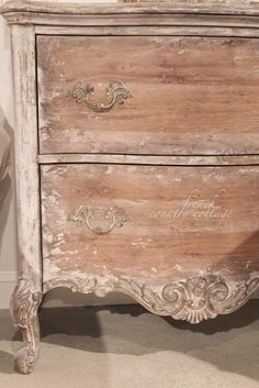 FRENCH COUNTRY COTTAGE: Inspirations~ Accentrics Home.  I like the bleached wood finish on this dresser.