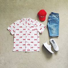 WEBSTA @ johnjunglee - 'Murika  | #outfitgrid▫️#beentrill x #budweiser shirt Summer Shorts Outfits, Dope Outfits, Swag Outfits, Casual Outfits, Topman Shorts, Hype Clothing, Brooklyn Style, Mens Trends, Outfit Grid