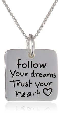 """Sterling Silver """"Follow Your Dreams Trust Your Heart"""" Reversible Two-Piece Pendant Necklace, 18"""""""