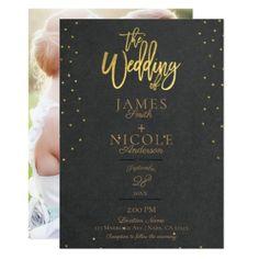 Grey Modern Minimal Gold Foil Full Photo Wedding Card - wedding invitations diy cyo special idea personalize card