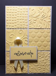 handmade greeting card ... embossing folder sampler .. squares of different embossed designs cover card from ... creamy yellow makes designs prominent ... lovely card!!