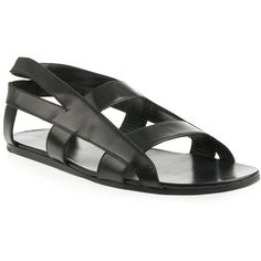 Black Leather Cross Strap Sandals, by Raf Simons, Men's Spring Summer Fashion.
