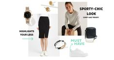 This crew neck looks amazing with a pencil skirt. The perfect athleichic look! Urban Looks, Sporty Chic, Pattern Mixing, Summer Trends, Summer Looks, A Line Skirts, Crew Neck, Pencil, Ootd