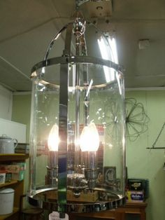 Chrome ART Deco Lantern French Country Pendant 3 Light Chandelier Vintage NO 2 | eBay