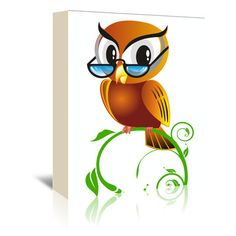 """East Urban Home Owl Bird Graphic Graphic Art on Wrapped Canvas Size: 30"""" H x 24"""" W x 1.5"""" D"""