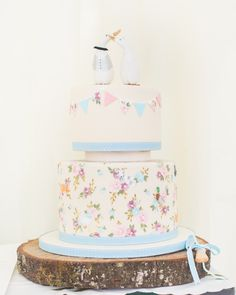 Hand painted cake with hidden animals. blue, pink vintage. rustic cake. ducks, dogs, cats goats. Emily Hankins cakes. Wedding cakes Cornwall.