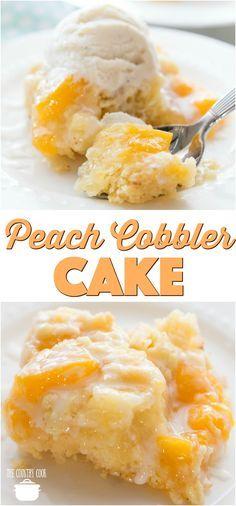 cobbler cake Easy Peach Cobbler Cake [] recipe from The Country Cook w/ cake mix idea & peach pie filling .Easy Peach Cobbler Cake [] recipe from The Country Cook w/ cake mix idea & peach pie filling . Köstliche Desserts, Dessert Recipes, Peach Cake Recipes, Peach Cobbler Recipes, Summer Cake Recipes, Easter Desserts, Fruit Recipes, Peach Cobbler Cake, Easy Peach Cobbler Recipe With Cake Mix