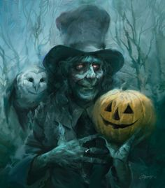 The Dead Hatter Poster ghost haunted pumpkin halloween owl - Don't say Boo! Scary, Halloween Horror, Halloween Prints, Halloween Witch, Witch Art, Spooky Halloween, Painting, Art