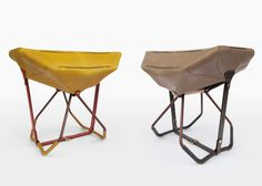 Prolific Spanish architect/ designer Patricia Urquiola transforms LV handbags into portable stools. Lightweight with collapsable aluminium frame and leather seat, this stool is currently at a prototype stage.