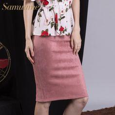 Samuume Sexy Multi Color Suede Midi Pencil Skirt Women 2017 Fashion Elastic High Waist Office Lady Bodycon Skirts Saias A1609022 //Price: $20 & FREE Shipping //     #woman #sexy
