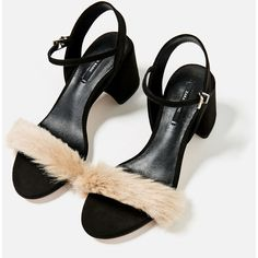 FAUX FUR VAMP SANDALS - TRENDING NOW-WOMAN | ZARA United Kingdom (156.305 COP) ❤ liked on Polyvore featuring shoes, sandals, platform wedge shoes and platform wedge sandals