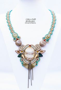 OOAK Hand Embroidered Soutache Necklace by CsillaPappJewellery, $240.00