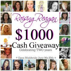 Raising Reagan | $1000 CASH Giveaway Celebrating Raising Reagan's TWO Year Blogiversary