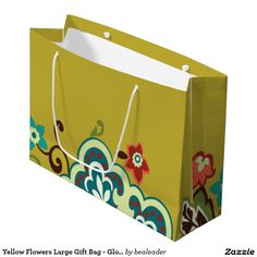 Yellow Flowers Large Gift Bag - Glossy