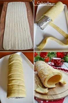 Gabriella's Adventures in the Kitchen :): Chimney Cake (vanilla-lemon) - baked in the oven Hungarian Desserts, Hungarian Recipes, Bakery Recipes, Dessert Recipes, Cooking Recipes, Creative Kitchen, Kurtos Kalacs, Chimney Cake, Cream Recipes