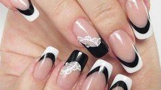 Originale Nail Art da sposa bianca e nera Foto