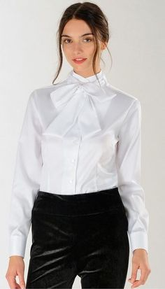 Dressed Formal For Work In White Bow Blouse And Black Pants