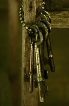 Am obsessed with old keys. I have an old metal coffee can full of them. Under Lock And Key, Key Lock, Antique Keys, Vintage Keys, Knobs And Knockers, Door Knobs, Door Handles, Olive Green Color, Green Colors