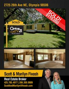 #SOLD  Congratulations Scott Fivash & Marilyn McGlynn Fivash and to the new owners of nice older mobile home situated on a private level .71 acre lot in #Olympia  MLS # 1161721