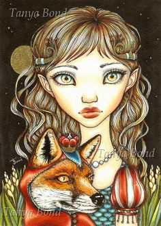Princess Phoebe and Theodore the Great - 5x7 print of a painting by Tanya Bond - surreal pop - big eyed girl fox