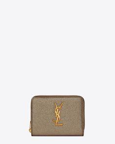 Saint Laurent MONOGRAM SAINT LAURENT Compact Zip Around Wallet In Grey Grained Metallic Leather | YSL.com