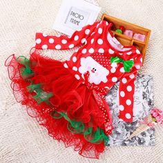 338d01d77670 Kids Baby Girls Christmas Romper Jumpsuit Snowman Santa Tutu Skirt Fancy  Dress Christmas Romper