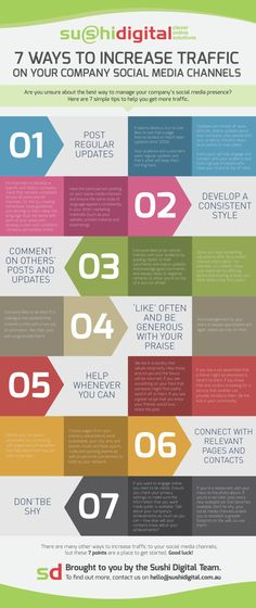 7 ways to increase traffic on your company Social Media Channels #infographic