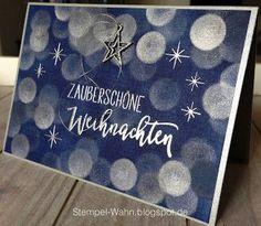 """Ich habe am Wochenende ein bisschen mit Stempel-Farben geschmiert und es sind diese zwei blauen Weihnachtskarten dabei herausgekommen. Der Text ist in silber embosst und stammt aus dem Stempelset """"All"""