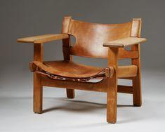 Solid oak and original congnac leather. H: 60 cm/ 1' 11 W: 81 cm/ 2' 8 D: 56 cm/ 1' 10 Seat height: 34 cm/13 1/2