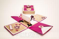 Explosionsbox als Geschenkgutschein für ein Fotoshooting, hergestellt von Brigitte Baier-Moser mit Stampin'Up!