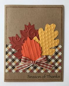 This handmade card is full of special touches! All my cards are made from high quality cardstock and supplies! Pattern paper may change depending on availability! All cards include an envelope! Wording... Outside ~ Season of Thanks Inside ~ Happy Thanksgiving. Special features ~