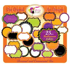 25 Digital Labels Halloween Clipart Embellishments Scalloped Clip Art Frames Scrapbooking DIY images Personal & Commercial Use Own Original