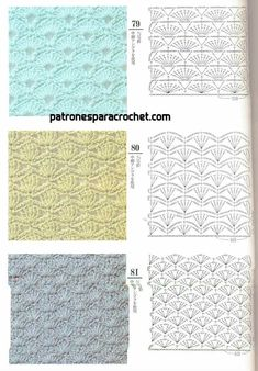 from Crochet Design 200 Different Crochet Stitches, Crochet Stitches Chart, Crochet Motifs, Crochet Diagram, Freeform Crochet, Knitting Stitches, Crochet Lace, Free Crochet, Crochet Gratis