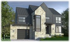 859 - Le Salix Cottage | Plans Design #cottage #design #plans #salix #SalixCottage Country Modern Home, Modern Farmhouse, Modern Residential Architecture, Stairs In Living Room, Architectural Services, Cottage Plan, Types Of Houses, Plan Design, Large Windows