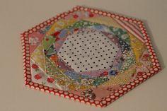 Rainbowed Happy Hexagon Trivet by bryanhousequilts