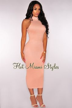 Rose Pink Faux Suede Mock Neck Midi Dress