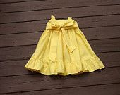 Girls Easter Dress with ruffle detail. Solid Classic Yellow with Yellow or custom sash. Custom children's clothing. By EverythingSorella