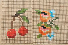 cross stitch or needlepoint cherry pattern