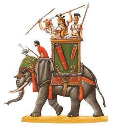 Karthagischer Kriegselefant mit Speerwerfer, im Angriff