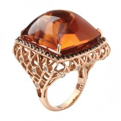 Citrine, diamond and gold Ring by Mary Esses
