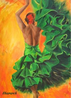 Flamenco dancer art print on paper - flamenco dancer in green ruffled dress with orange background -flamenco painting by Sharareh
