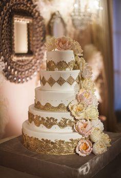 Elegant Gold Wedding Cake With Sugar Flowers | photography by http://www.samuellippke.com/studio/index.html