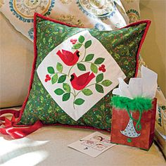 Christmas Cardinals: Home Dec Appliqué Pillow Pattern Designed by ERIN RUSSEK, patterned in McCall's Quilting November/December 2013