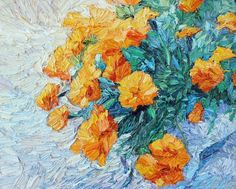 Buy Orange flowers - oil painting, Oil painting by Lia Aminov on Artfinder. Discover thousands of other original paintings, prints, sculptures and photography from independent artists.