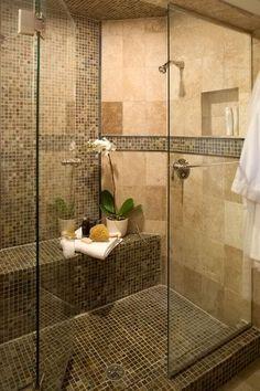Dream Shower Bathroom Design Ideas, Pictures, Remodel and Decor Spa Bathroom Design, Bathroom Spa, Glass Bathroom, Small Bathroom, Master Bathroom, Master Shower, Bathroom Ideas, Travertine Bathroom, Mosaic Bathroom