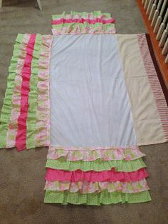 very clear tutorial--ruffled crib skirt--great idea to attach ruffles to crib skirt you picked up at a resale shop