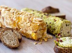 Receita Dedo de Moça: Aperitivos de cream cheese (damasco com amêndoas e pistache com pimenta rosa)